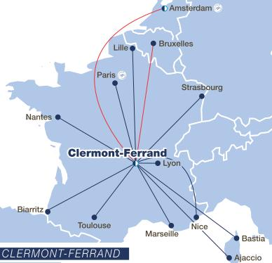 Clermont-ferrand on a France map